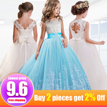 цены Retail Flower Neck Embroidery Girls Summer Wedding Dress Cute Rhinestone Ankle-Length Evening Party Dress Communion Dress LP-56
