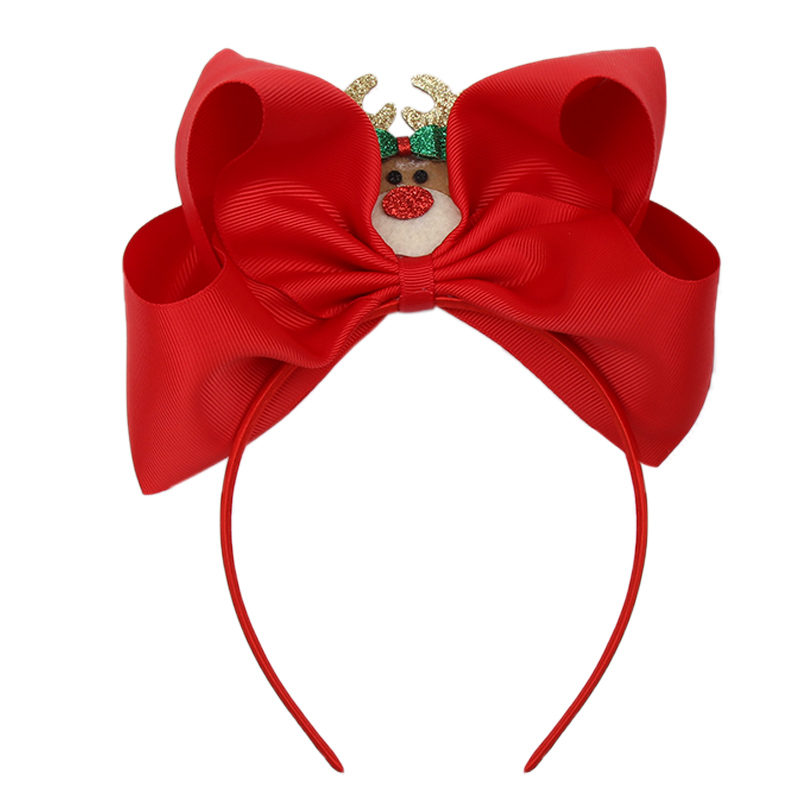 Christmas Big Bow Knot Hairband For Girls With Glitter Santa Claus Solid Snowman Headband Fashion Xmas Party Hair Accessories