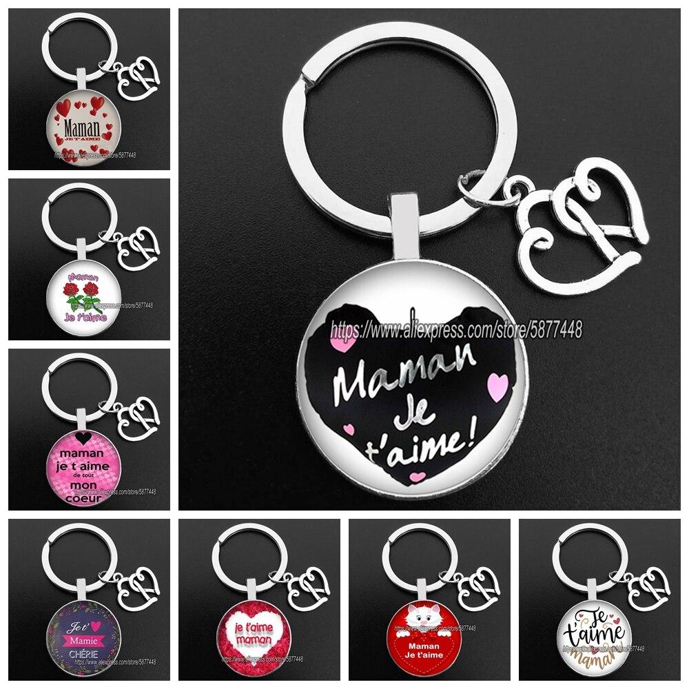 Новая мода Счастливый День матери стекло брелки из кабошона французский Je T'aime Maman модная цепочка для ключей для мамы, подарки для ключей
