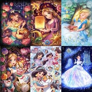 5d Diy Full Square&Round Diamond Painting Kits Diamond Embroidery Cross Stitch 3D Cartoon Jasmine Princess Cinderella Home Decor