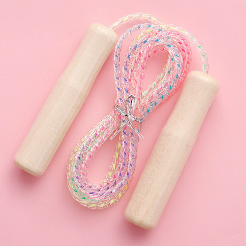 Fitness Losing Weight Equipment Weight Game Colorful Crystal Rope Skipping Logs Handle Students Children Jump Rope Sub-