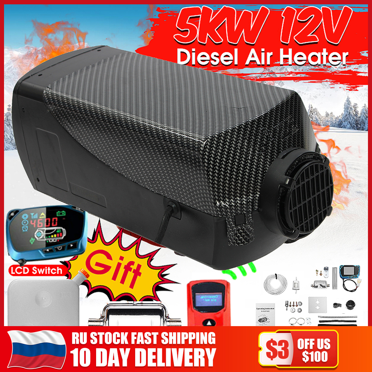 5000W Air diesels Heater 5KW 12V Singal Hole Car Heater For Trucks Motor-Home Boats Bus +LCD key Switch +Silencer+Remote Control(China)