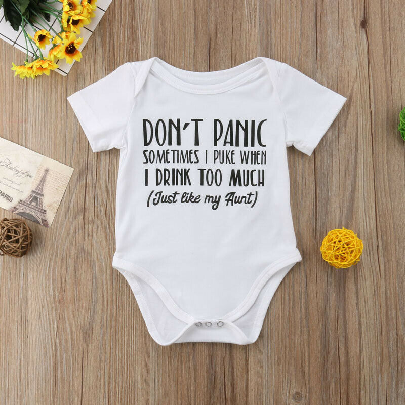 Infant Baby Girl Short Sleeve Jumpsuits Casual AIN/'T NO AUNTIE Print Crawl Suits