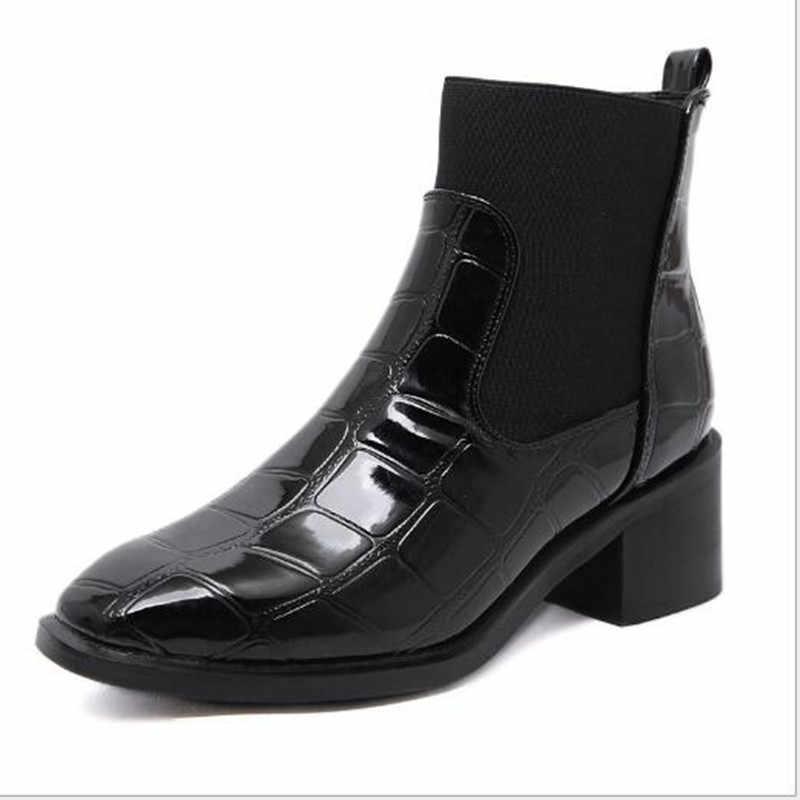 Размеры 34-40, 2019 г. Новые осенние ботинки для женщин из крокодиловой кожи, ботинки женские модные ботинки на шнуровке на толстой подошве