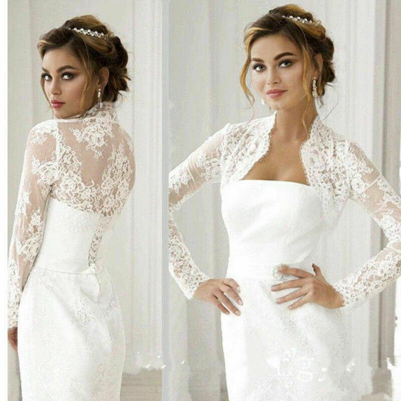 Wedding Bolero Long Sleeve Bridal Jackets Lace Top White Ivory Wraps Bride Jacket