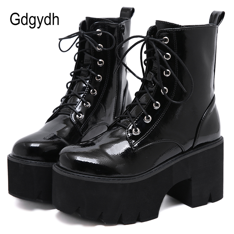 Gdgydh Woman Lace Autumn Boots Womens Ladies Chunky Wedge Platform Black Patent Leather Ankle Boots Punk Goth New Arrival 2021