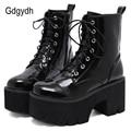 Gdgydh Frau Spitze Herbst Stiefel Frauen Damen Chunky Keil Plattform Schwarz Patent Leder Stiefeletten Punk Goth Neue Ankunft 2020