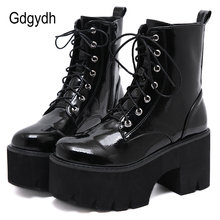 Autumn Boots Lace Wedge Platform Black Chunky Punk Goth Gdgydh Patent Leather Womens