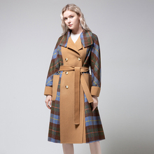 Autumn and winter new fashion wool coat women's stitching long slim coat women