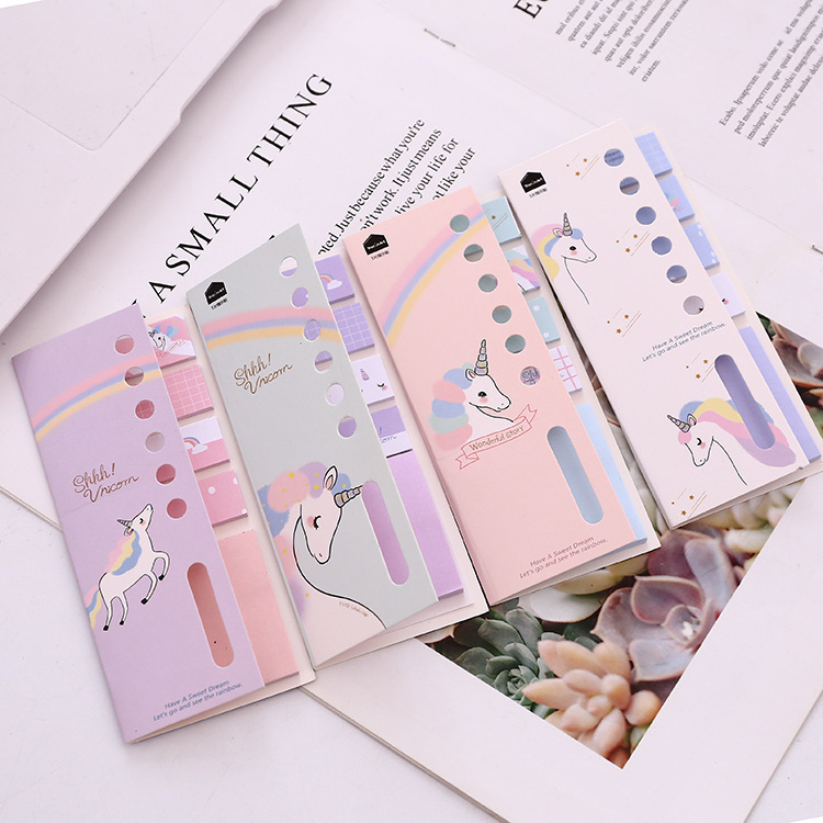 Kawaii 4+1 Unicorn Memo Pad N Times Sticky Notes Escolar Papelaria School Supply Bookmark Label