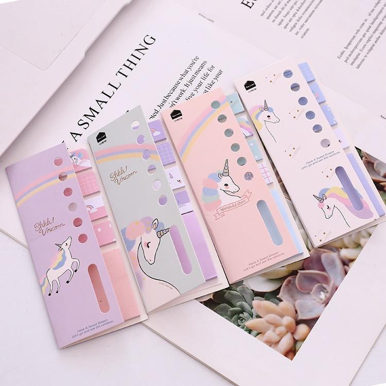 Kawaii 4+1 Unicorn Memo Pad N Times Sticky Notes Escolar Papelaria School Supply Bookmark Label