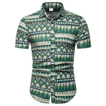 W stylu Vintage afryki etniczne drukuj koszulka męska Slim Fit koszulka Homme 2019 nowy koszula z mieszanki bawełny i lnu męska z krótkim rękawem koszula hawajska tanie i dobre opinie Liva girl Casual Shirts COTTON Linen Pojedyncze piersi Koszule Men Shirt Suknem Skręcić w dół kołnierz Na co dzień