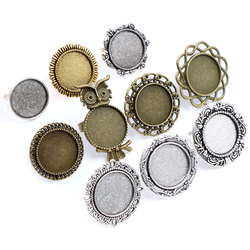 20mm 5pcs Antique Silver Plated Bronze Brass Mix Style Adjustable Ring Settings Blank/Base,Fit 20mm Glass Cabochons