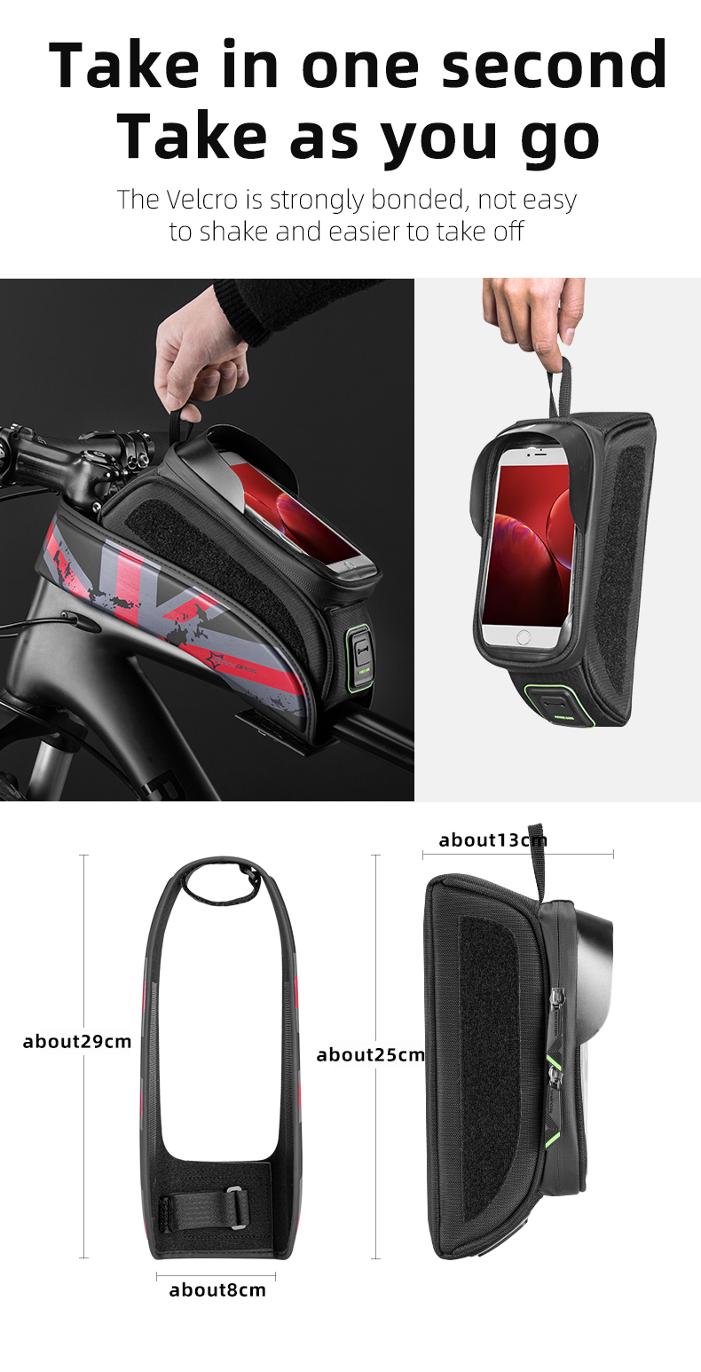 ROCKBROS Bike Bag Front Phone Bicycle Bag For Bicycle Tube Waterproof Touch Screen Saddle Package For 5.8 /6 Bike Accessories