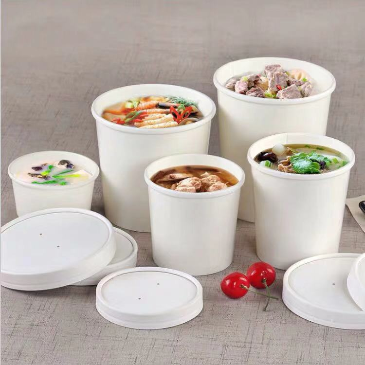 50pcs/pack Large Capacity Disposable White Paper Bowl With Lid Eco Takeaway Food Package Paper Cup Paper Lunch Box
