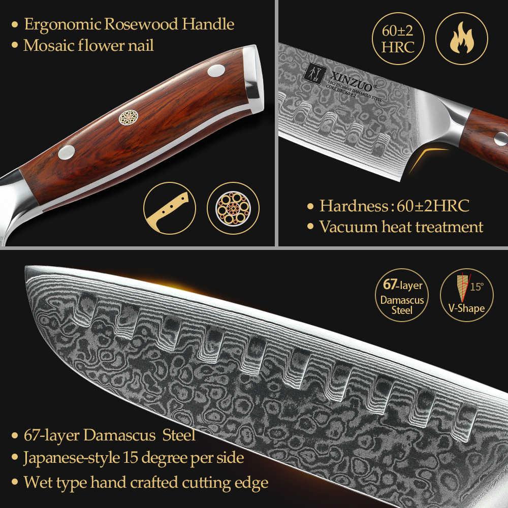 XINZUO 7 ''pollici Santoku Coltelli Da Cucina 67 Strati di Damasco Inox Chef Coltello con Manico In Palissandro Che Si Occupano di Frutta A Base di Carne Verdure