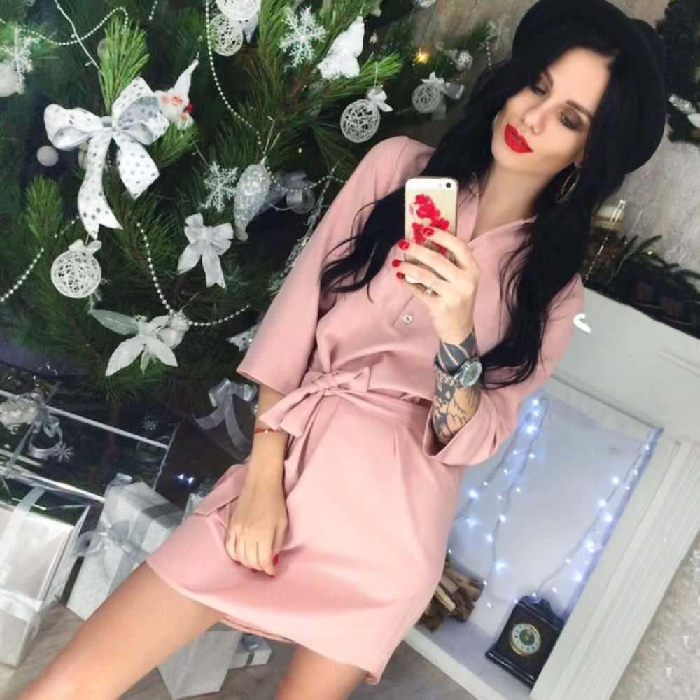 AVSMYA Vintage Shirt Dresses 2018 New Autumn Casual Party dress Vestidos Lady Office work Pink Wine red Mini dress bodycon