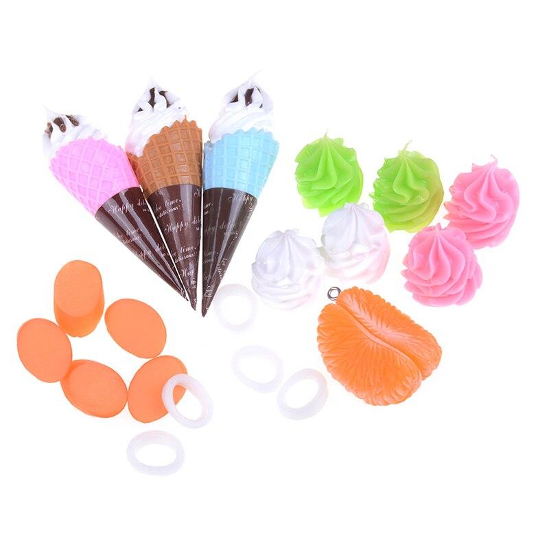 Resin Artificial Fake Miniature Food Fruit Orange Ice Cream Ham Play DollHouse Toy Decorative Craft Kawaii Kids DIY Accessories