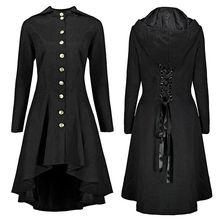 Lortalen Women Gothic Steampunk Long Tailcoat Lace Up Hooded Overcoat Jacket Vintage Autumn Ladies Victorian Jackets Plus Size