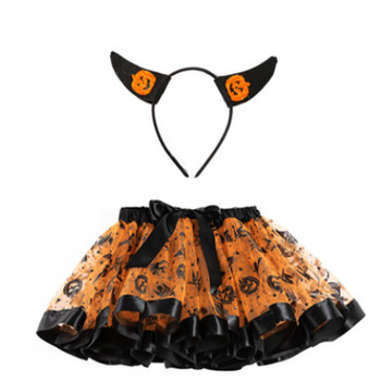 Baby Girls Halloween Photography Outfits Cute Print Layered Bowknot Tutu Skirt with Headband girls geometric print top with solid skirt