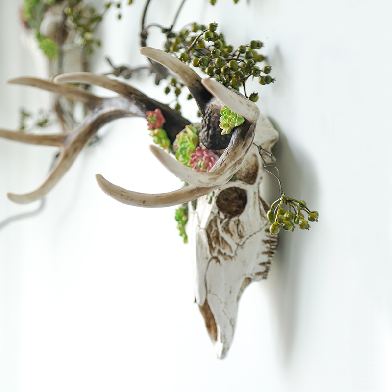 Overgrown With Green Succulents Animal Skull Deer Head Wall Decoration Head Resin Wall Ornament Xmas Gift Creative Gift