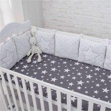 Parachoques para cama de bebé, protector de cuna con patrón de estrella de Animal, protector de cuna infantil para juego de cama para bebé recién nacido, almohada de cojín suave, 6 uds.