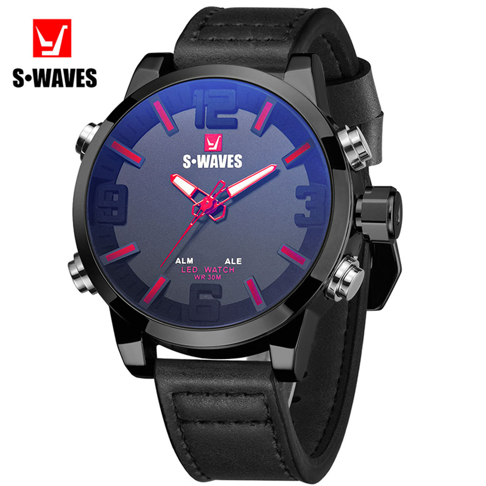 Dual Display Watch Men Leather LED Fashion Analog Digital Relojes Para Hombre Waterproof Big Brand SWAVES Unique Watches for Men