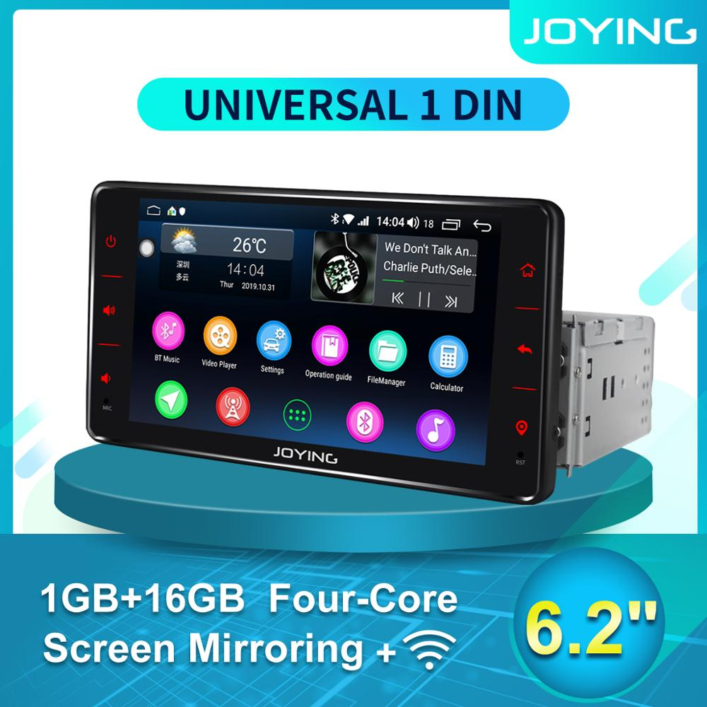 JOYING 6.2Single 1 Din Android Auto Car Radio Stereo Universal Head Unit GPS Multimedia Player DVR Accessories Rear View Camera image