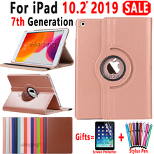 Case for Apple iPad 10.2 Case 2019 A2197 A2200 A2198 A2232 360 Degree Rotating Leather Smart Sleep Auto Awake Cover Funda Coque