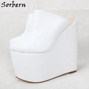 Image 5 - Sorbern สีขาว SLIP ON Mules WEDGE แพลตฟอร์มรองเท้าส้นสูงชี้ Toe 7 นิ้วรองเท้าส้นสูงสตรีรองเท้ารองเท้าที่กำหนดเองที่กำหนดเองสี