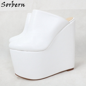 Image 5 - Sorbern White Slip On Mules Wedge Platform High Heels Pointed Toe 7 Inch Heels Womans Designer Shoes Custom Multi Colors