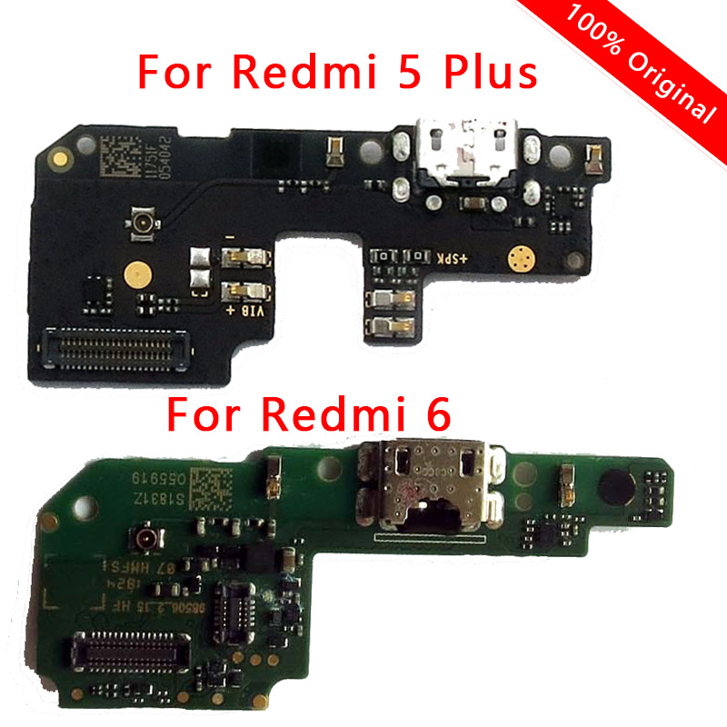 Original For Redmi 6 Charging Port USB Plug Flex Cable For Redmi 5 Plus Charger Board PCB Dork Connector Replacement Phone Parts