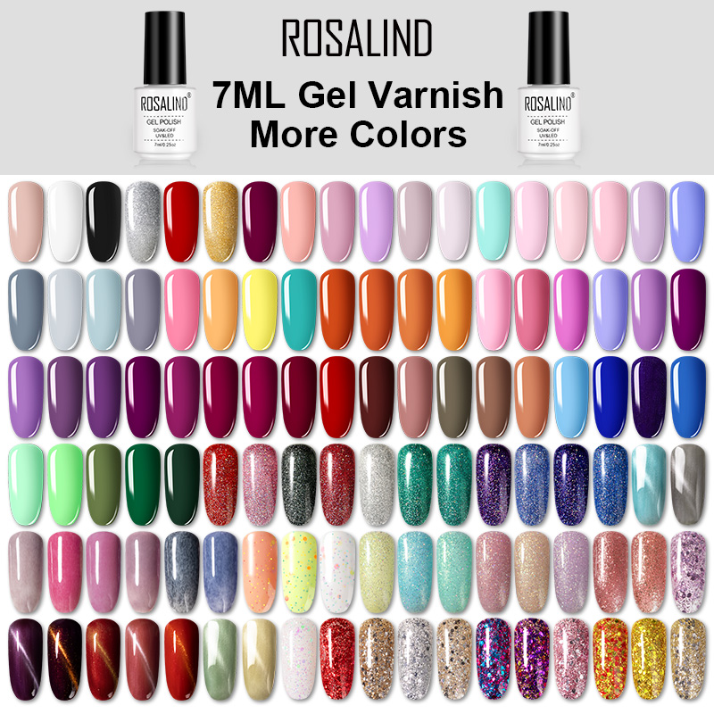 ROSALIND Gel Nail Polish Hybrid Varnishes All For Manicure Nails Art Semi Permanent UV Led Gel Polish Nail Design Base Top Coat(China)