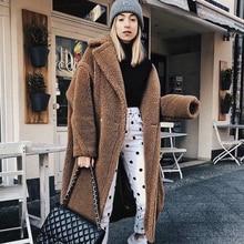2019 Winter Thicken Warm Faux Fur Teddy Jas Vrouwen Mode Basic Lamswol Oversized Jas Jassen Street Pluizige Lange Overjas