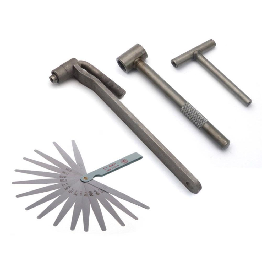 Motorcycle Engine Valve Adjustment Tool Square Hexagon Socket T Spanner Valve Screw Wrench 8mm 9mm 10mm Feeler Gauge 0.02 To 1mm
