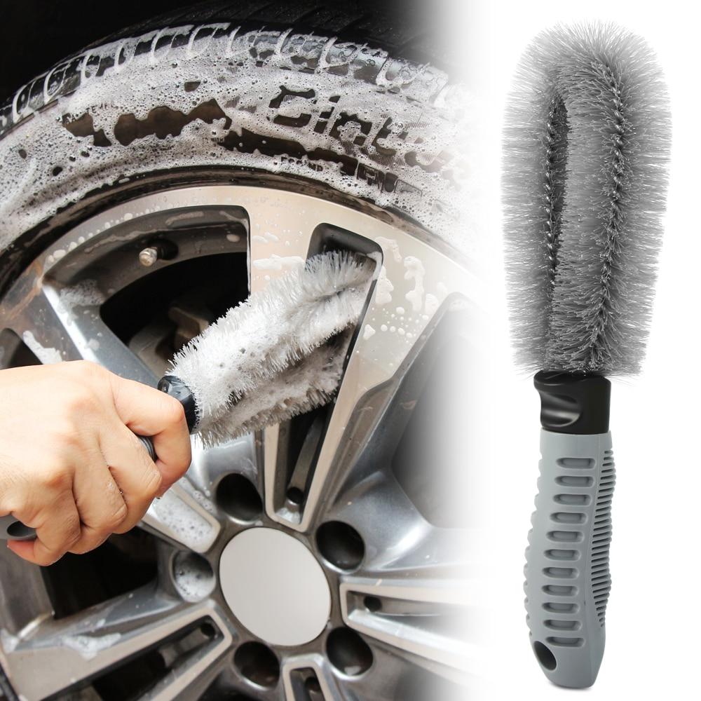Car Washing Cleaning tool Wheel Tire Rim Scrub Brush Car Brush Tool for Volkswagen VW Golf 4 6 7 GTI Tiguan Passat B5 B6 B7 CC-in Car Stickers from Automobiles & Motorcycles