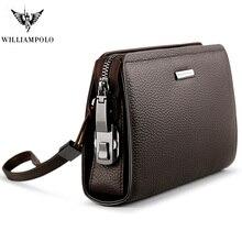 купить WILLIAMPOLO mens wallet leather genuine coin pocket long zipper coin purse for men clutch business Male Wallet Large men Wallets по цене 2800.84 рублей