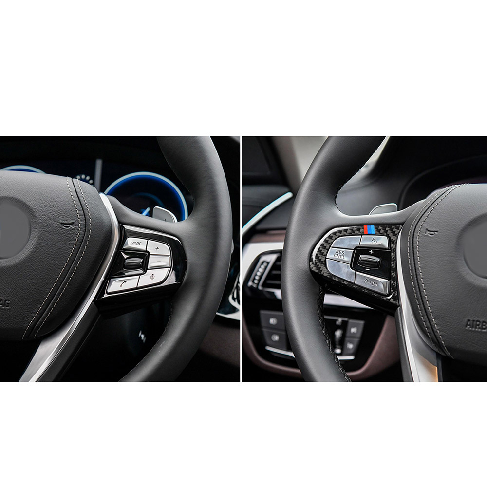 Fit For BMW 5 Series G30 2018 Carbon Fiber Inner Steering wheel cover trim 2pcs