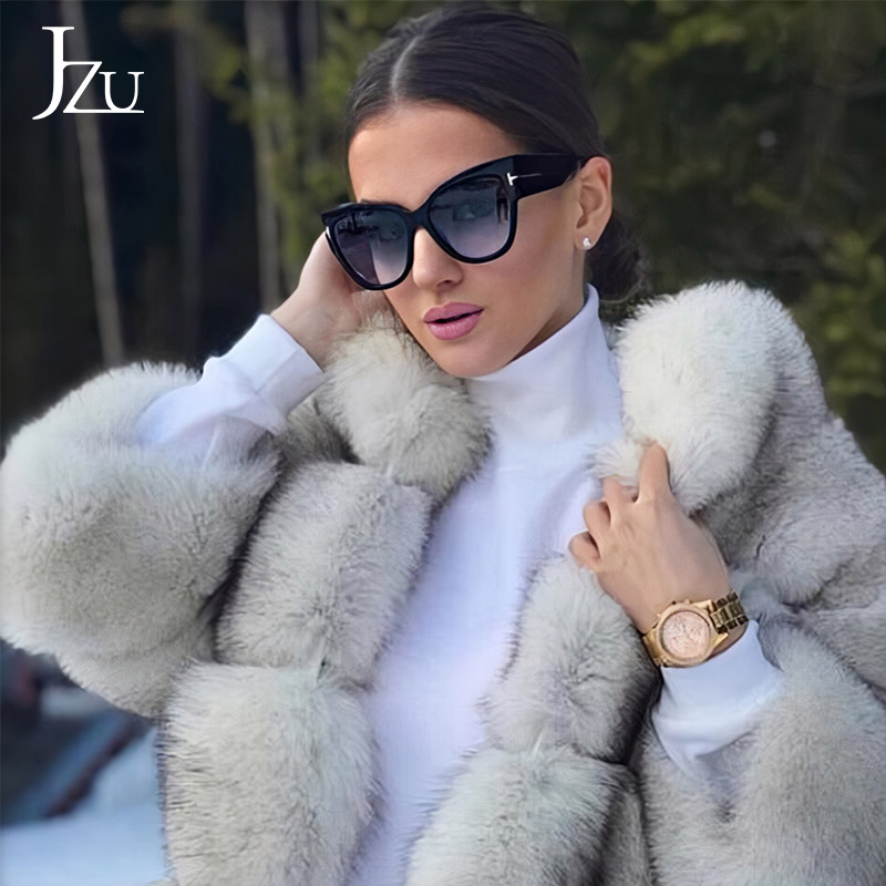 JZU 2019 New Tom Fashion Brand Designer Cat Eye Women Sunglasses Luxury Female Oversized Sun Glasses Big Oculos Feminino De Sol