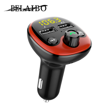цена на fm transmitter car accessories bluetooth car kit fm modulator handsfree wireless aux bluetooth 5.0 car MP3 player fast charger
