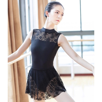 2018 New Cotton Spandex Sleeveless Ballet Leotard Suit Sexy Lace Stand Collar Open Back Women Adult Girls Dance - sale item Stage & Dance Wear
