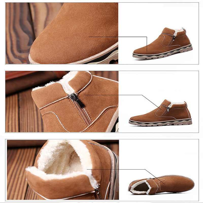 Merkmak 2019 Neue Winter Männer Schuhe Mode Britischen Stil Schnee Booties Warme Runde Kappe Casual Schuhe Non-slip Große größe Ankle Booties
