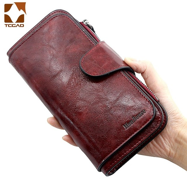 Women's wallet made of leather Wallets Three fold VINTAGE Womens purses mobile phone Purse Female Coin Purse Carteira Feminina 1