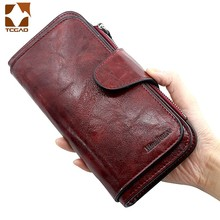Women's wallet made of leather Wallets Three fold VINTAGE Womens purses mobile phone Purse Female Coin Purse Carteira Feminina