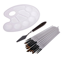 12Pcs All Purpose Paintbrush Set with Palette and Color Mixing Cutter, Suitable for Watercolor, Acrylic, Oil painting