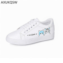 Cartoon Cute Cat  Flat Shoes 2019 New Arrival Fashion white Women's Shoes Zapatos De Mujer Non-Slip Sneakers Ladies Tennis Shoes red old beijing cloth shoes women shoes women sneakers 2019 spring new non slip mother shoes womens shoes woman zapatos de mujer