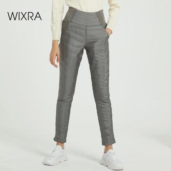 Wixra Winter Hosen Frauen Ente Unten Samt Hohe Elastische Taille Dünne Warme Winddicht Hosen Weibliche Elastische Taille Hose Frauen