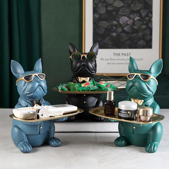 Cool Bulldog,Statue,Table Decoration,Fashion Sculpture,Home Room Decor,Multifunction,Desk Storage,Figurine Miniature,Coin Bank 2