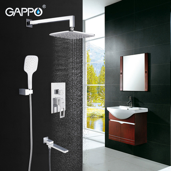 GAPPO Wall Mount Bathroom Rain Waterfall Shower Faucet Set Concealed Chrome Shower System Bathtub Shower Mixer Faucet Tap frap digital bathroom shower mixer with display bath shower faucet system set wall mount mixer digital display shower panel