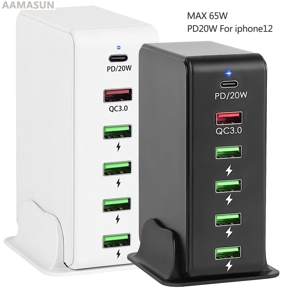 6 Port USB PD Fast Charger For Xiaomi samsung S9 QC 3.0...